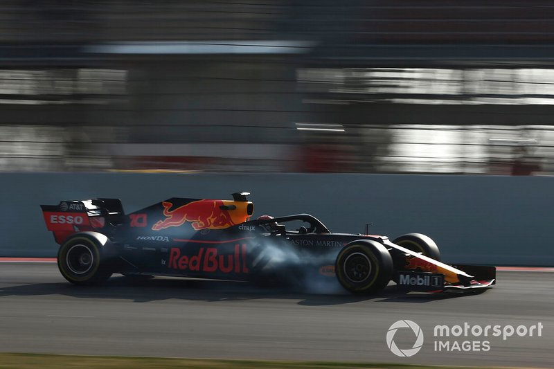 Pierre Gasly, Red Bull Racing RB15 locks up