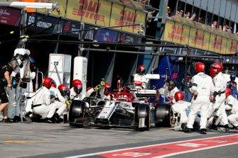Kimi Raikkonen, Alfa Romeo Racing C38, leaves his pit box after a stop