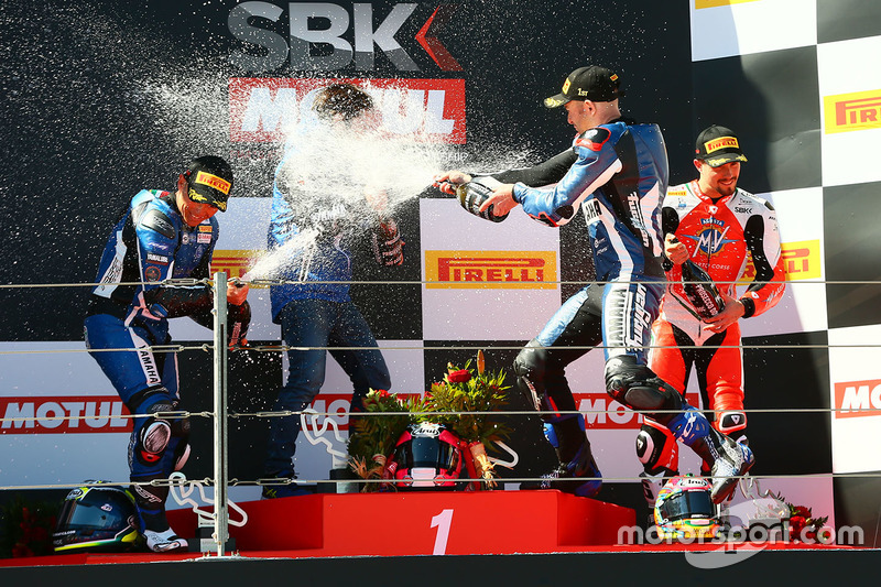Podium: race winner Lucas Mahias, GRT Yamaha Official WorldSSP Team, second place Sheridan Morais, Kallio Racing, third place P.J. Jacobsen, MV Agusta