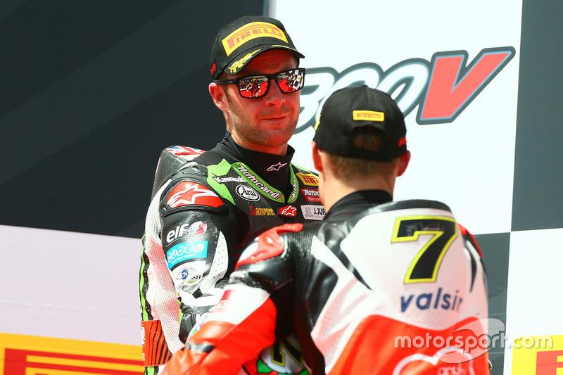 Podium: race winner Chaz Davies, Ducati Team, second place Jonathan Rea, Kawasaki Racing