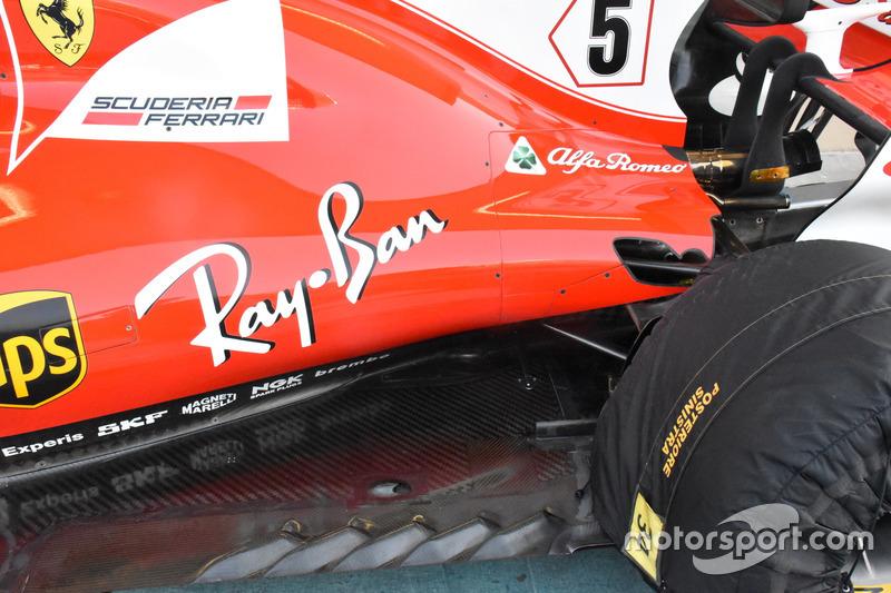El lateral del Ferrari SF70H de Vettel