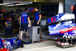 The car of Pierre Gasly Toro Rosso STR13 in the garage