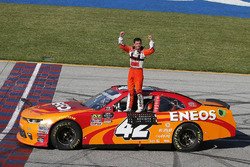 Kyle Larson, Chip Ganassi Racing, Chevrolet Camaro ENEOS celebrates his win