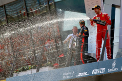 Jonathan Wheatley, Red Bull Racing Team Manager, Kimi Raikkonen, Ferrari, Max Verstappen, Red Bull Racing and Sebastian Vettel, Ferrari celebrate on the podium with the champagne on the podium