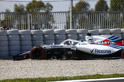 Lance Stroll, Williams FW41, drives into the gravel in FP1
