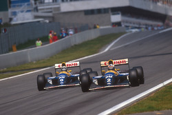Alain Prost, Williams FW15C Renault, precede Damon Hill, Williams FW15C Renault