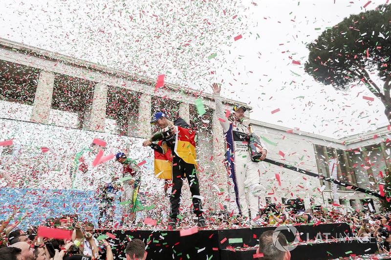 Sam Bird, DS Virgin Racing, wins the Rome ePrix, with Lucas di Grassi, Audi Sport ABT Schaeffler, in 2nd position, Andre Lotterer, Techeetah, in 3rd