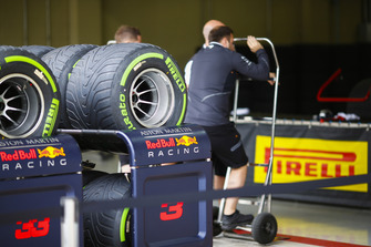 Pirelli tyres in front of the Red Bull pit garage