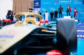 A view of the podium behind Jean-Eric Vergne's (FRA), DS TECHEETAH, DS E-Tense FE19