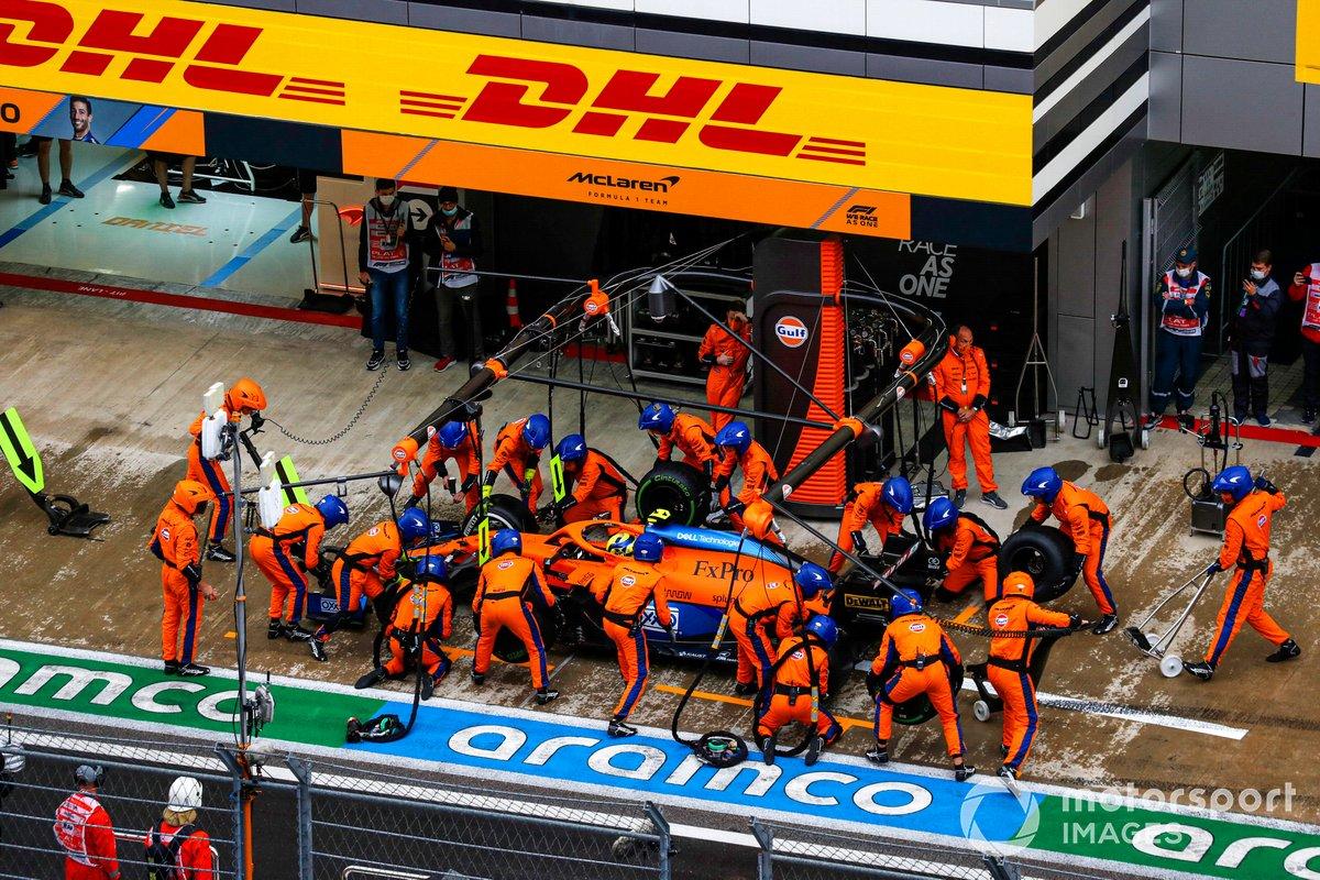 Lando Norris, McLaren MCL35M, makes a stop