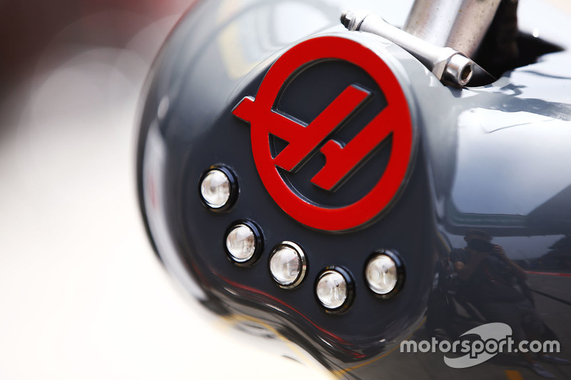 The Haas F1 logo on pit equipment