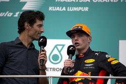 Mark Webber, race winner Max Verstappen, Red Bull Racing celebrate on the podium