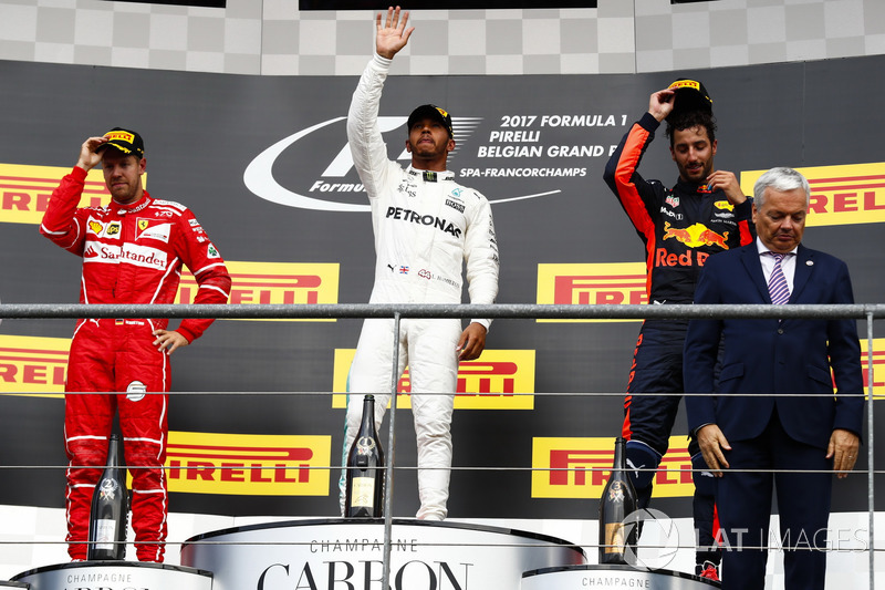 Podium: Second place Sebastian Vettel, Ferrari, Race winner Third place Lewis Hamilton, Mercedes AMG F1 Daniel Ricciardo, Red Bull Racing