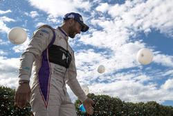 Jose Maria Lopez, DS Virgin Racing, festeggia sul podio