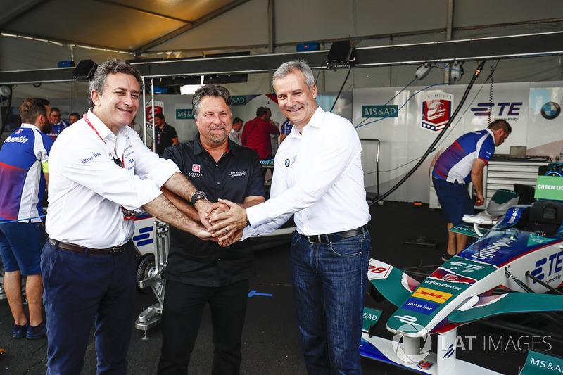 Alejandro Agag, Director CEO DE Fórmula E, Michael Andretti, Jens Marquardt, Director de BMW Motorsp