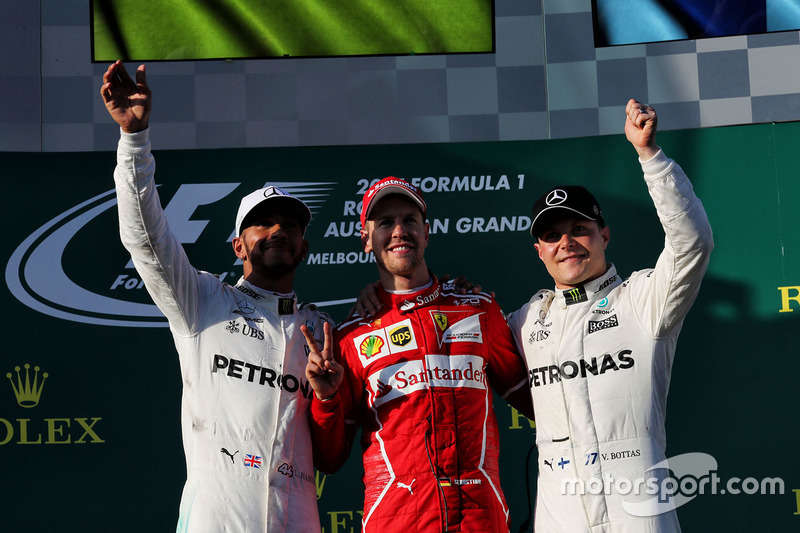 Podium: 1. Sebastian Vettel, Ferrari; 2. Lewis Hamilton, Mercedes AMG F1; 3. Valtteri Bottas, Merced