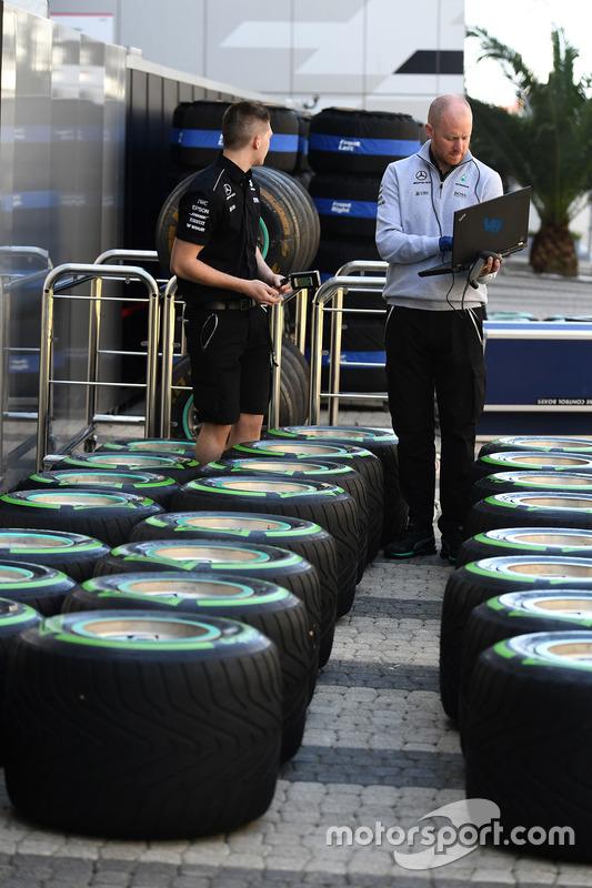 Mercedes AMG F1 mechanics at work