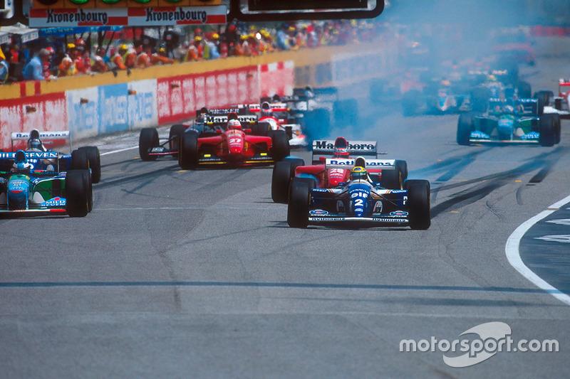 Start: Ayrton Senna, Williams FW16, Michael Schumacher, Benetton B194