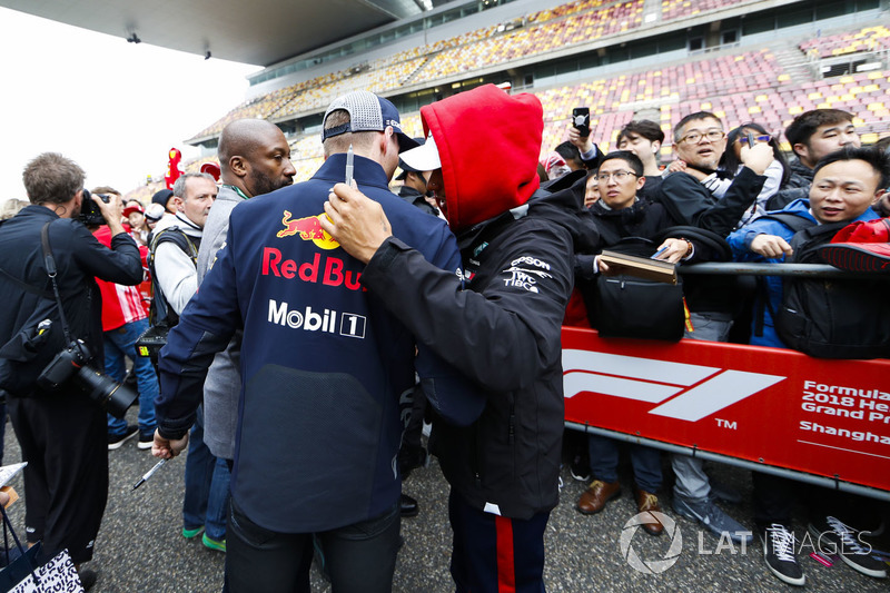 Max Verstappen, Red Bull Racing, talks to Lewis Hamilton, Mercedes AMG F1