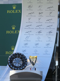The trophies on the podium