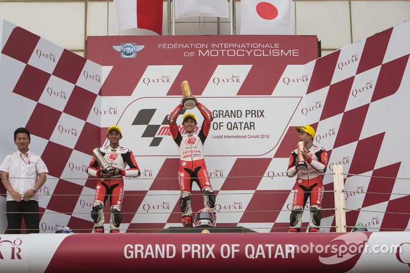 Podium Race 1 Asia Talent Cup Qatar: #7 Mario Suryo Aji, #9 Haruki Noguchi, #3 Sho Nishimura