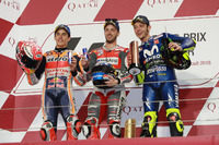 Podium: Race winner Andrea Dovizioso, Ducati Team, second place Marc Marquez, Repsol Honda Team, third place Valentino Rossi, Yamaha Factory Racing