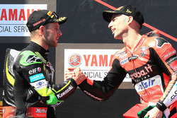 Podium: race winner Marco Melandri, Aruba.it Racing-Ducati SBK Team, second place Jonathan Rea, Kawa