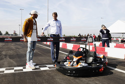 Lewis Hamilton, Mercedes AMG F1, opens the kart track