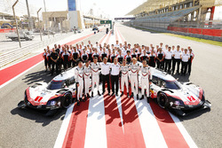 #1 Porsche Team Porsche 919 Hybrid: Neel Jani, Andre Lotterer, Nick Tandy, #2 Porsche Team Porsche 919 Hybrid: Timo Bernhard, Earl Bamber, Brendon Hartley with Porsche Team members