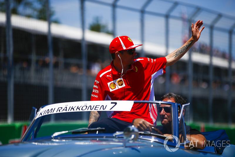 Kimi Raikkonen, Ferrari, on the drivers' parade