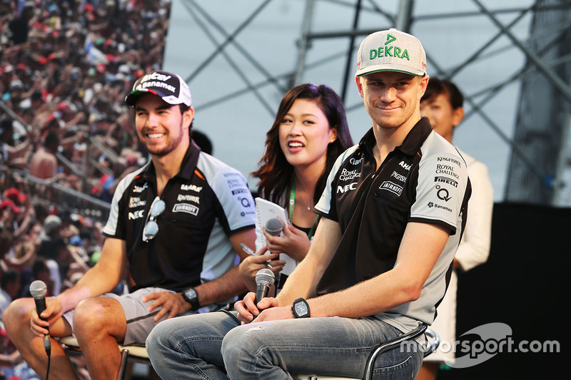 Sergio Perez, Sahara Force India F1 and team mate Nico Hulkenberg, Sahara Force India F1 at the fans stage