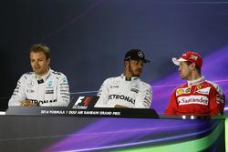 Press conference: Lewis Hamilton, Mercedes AMG F1 Team, Nico Rosberg, Mercedes AMG F1 Team and Sebastian Vettel, Ferrari