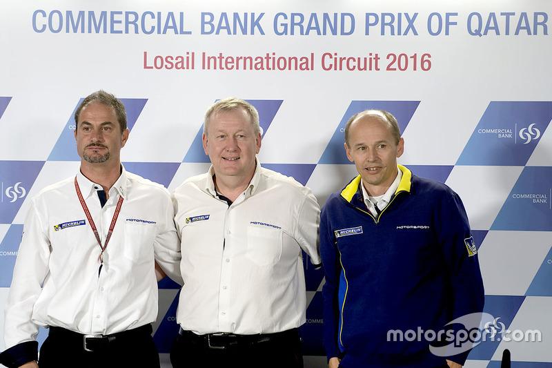 Piero Taramasso, Director de la dos ruedas Michelin Motorsport; Pascal Couasnon, Director de Michelin Motorsport; Nicolas Goubert, Director Adjunto y Director técnico Michelin Motorsport