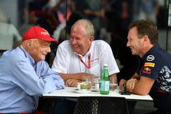 Niki Lauda, Mercedes AMG F1, Dr Helmut Marko en Christian Horner, Red Bull Racing