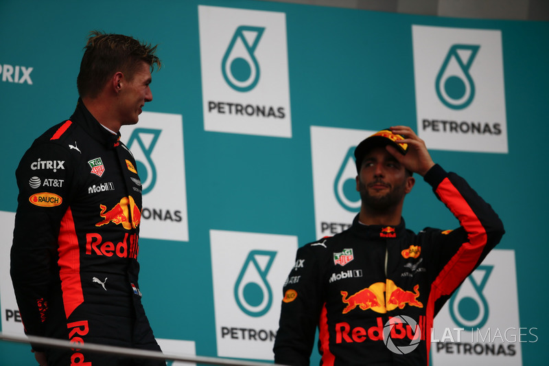 Max Verstappen, Red Bull Racing, race winner, third place Daniel Ricciardo, Red Bull Racing, celebrate on the podium
