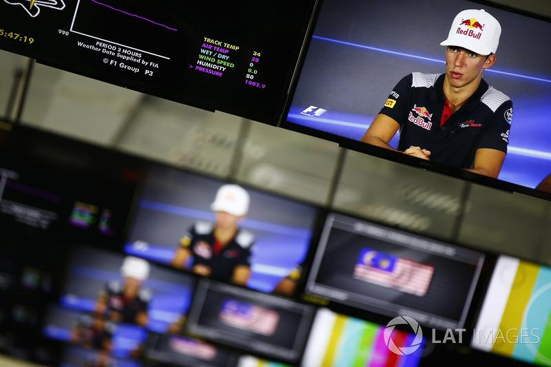 Pierre Gasly, Scuderia Toro Rosso, is pictured on monitors in the media centre