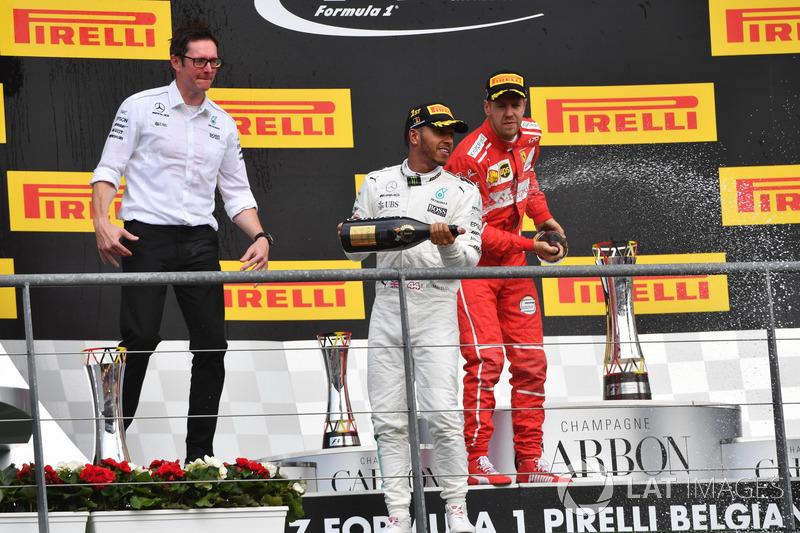 Andy Shovlin, Mercedes AMG F1 Engineer, Lewis Hamilton, Mercedes AMG F1 and Sebastian Vettel, Ferrari celebrate on the podium