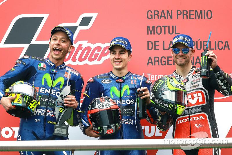 Podium: 2. Valentino Rossi, Yamaha Factory Racing; 1. Maverick Viñales, Yamaha Factory Racing; 3. Cal Crutchlow, Team LCR Honda