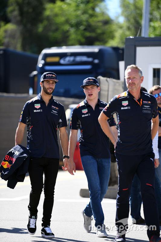 Daniel Ricciardo, Red Bull Racing, Max Verstappen, Red Bull Racing and Jonathan Wheatley, Red Bull Racing Team Manager