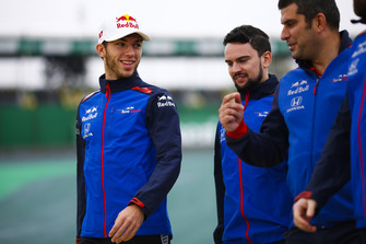 Pierre Gasly, Toro Rosso, walks the track with colleagues