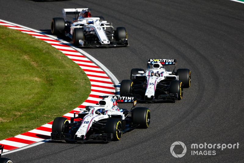 Lance Stroll, Williams FW41, Sergey Sirotkin, Williams FW41, y Marcus Ericsson, Sauber C37