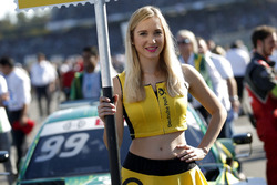Grid girl of Mike Rockenfeller, Audi Sport Team Phoenix, Audi RS 5 DTM
