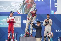 Podium : le vainqueur Daniel Abt, Audi Sport ABT Schaeffler (avant disqualification), le deuxième, Felix Rosenqvist, Mahindra Racing, le troisième, Edoardo Mortara, Venturi Formula E