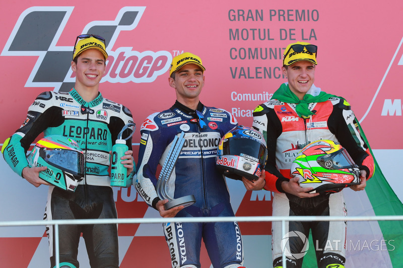 Podium: second place Joan Mir, Leopard Racing, Race winner Jorge Martin, Del Conca Gresini Racing Moto3, third place Marcos Ramírez, Platinum Bay Real Estate