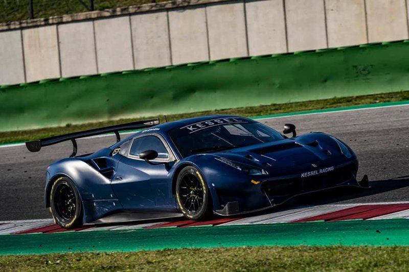 Valention Rossi is testing the Kessel Racing Ferrari 488 GT3