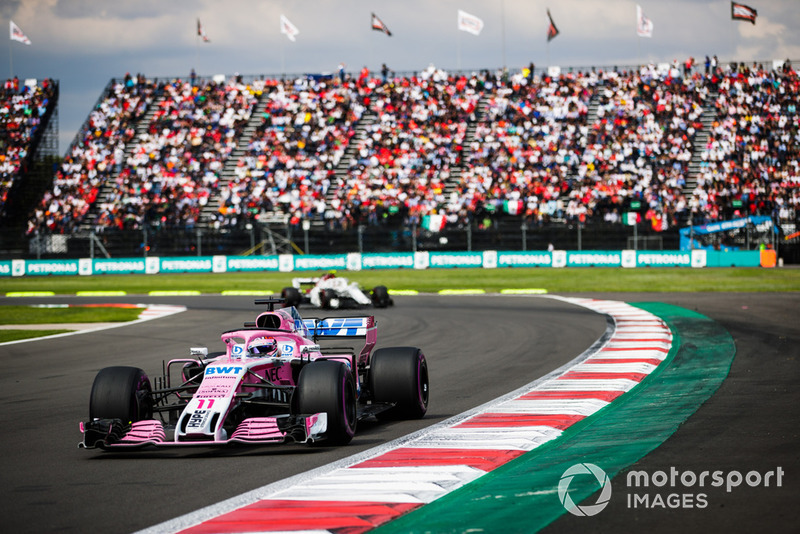 Sergio Perez, Racing Point Force India VJM11, leads Charles Leclerc, Sauber C37