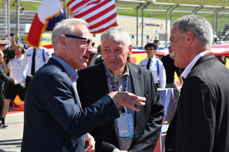 Chase Carey, Chief Executive Officer and Executive Chairman of the Formula One Group with Greg Maffei, President and CEO of Liberty Media and John Malone, Liberty Media Chairman