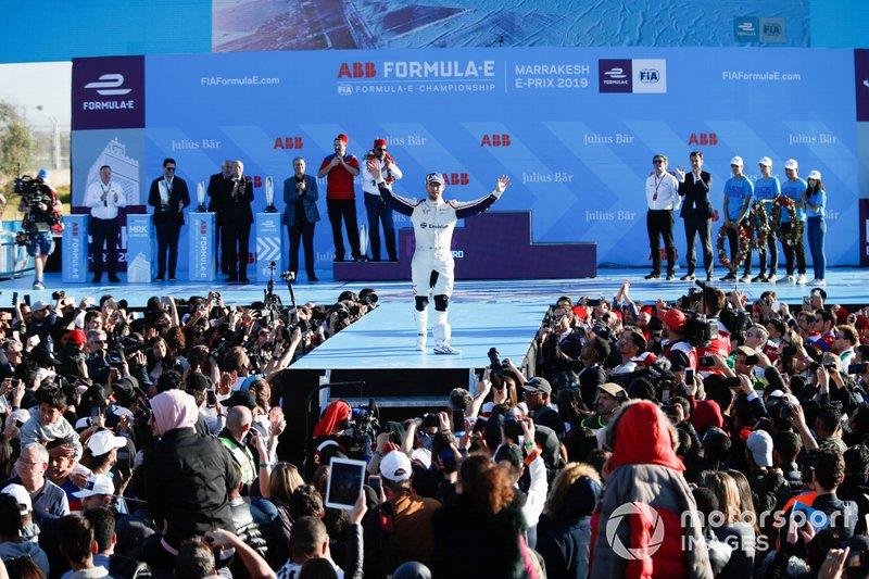 Sam Bird, Envision Virgin Racing, tercero, celebra su podio