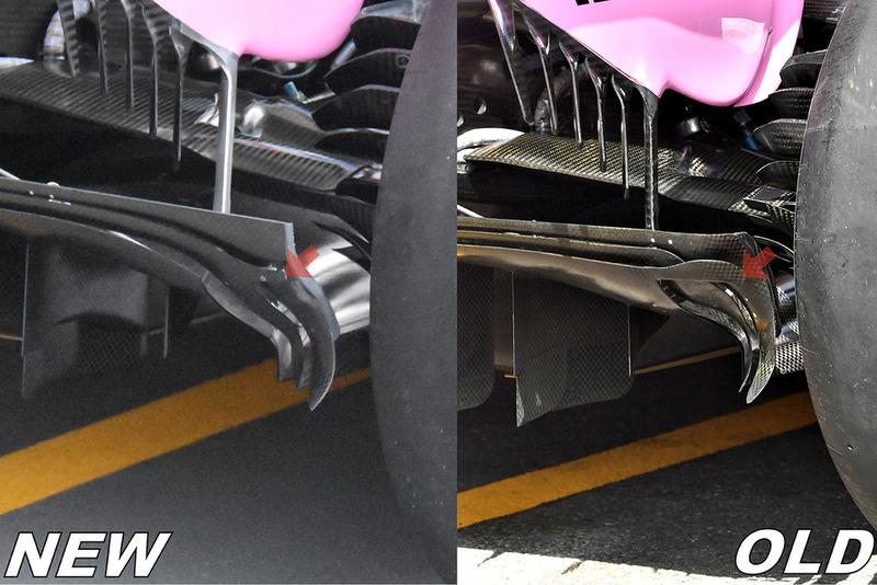 Force India VJM11 diffuser comparison