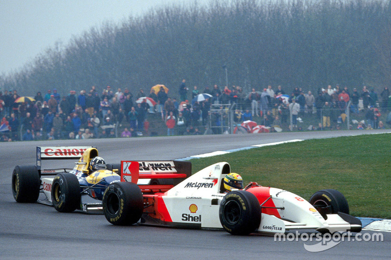Ayrton Senna, McLaren devant Damon Hill, Williams